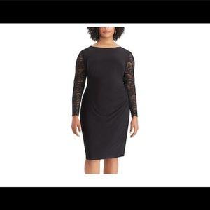 Chaps women's plus size Lace sleeve sheath dress